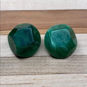 Vintage Green Clip on Earrings